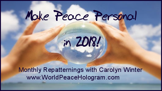 Make Peace Personal in 2018 – with Carolyn Winter on October 1st at 7:00pm
